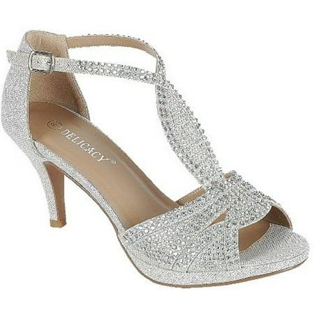 Excited-94 Women Party Evening Dress Bridal Wedding Rhinestone Platform Kitten Low Heel Sandal Shoes Silver - Size 12 Womens Platform Shoes