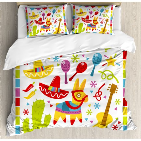 Fiesta Duvet Cover Set, Mexican Party Pattern Cactus Sombrero Musical Items  and a Pinata Ethnic Inspirations, Decorative Bedding Set with Pillow