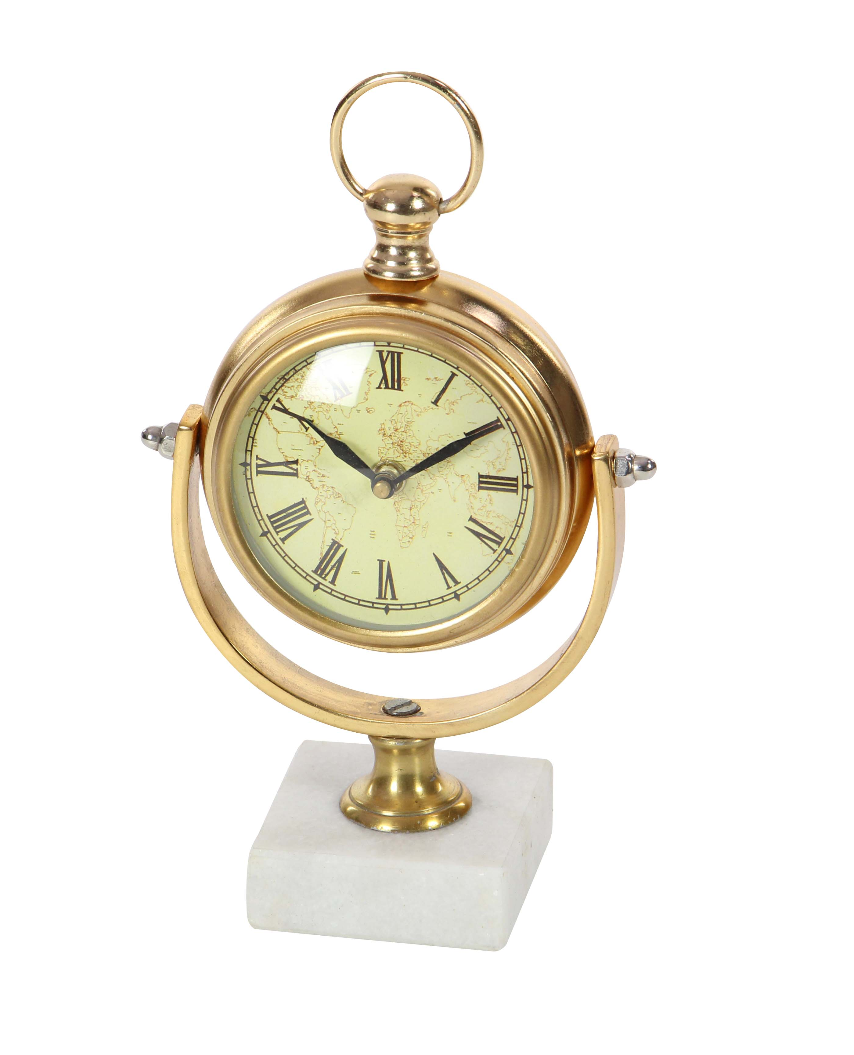 Decmode Traditional 10 x 7 inch vintage aluminum and marble table clock, Gold by DecMode