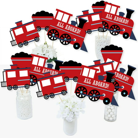 Thomas The Train Centerpieces (Railroad Party Crossing - Steam Train Birthday Party or Baby Shower Centerpiece Sticks - Table Toppers - Set of)