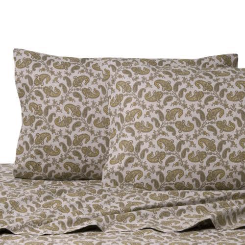 La Rochelle Heathered Flannel Paisley Cotton Sheet Full Grey Paisley