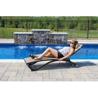 Glendale 4 position Aluminum Pool Lounger w/wheel & Pillow - Granite