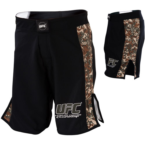 UFC Digital Camo Fight Shorts, Black / Army Green