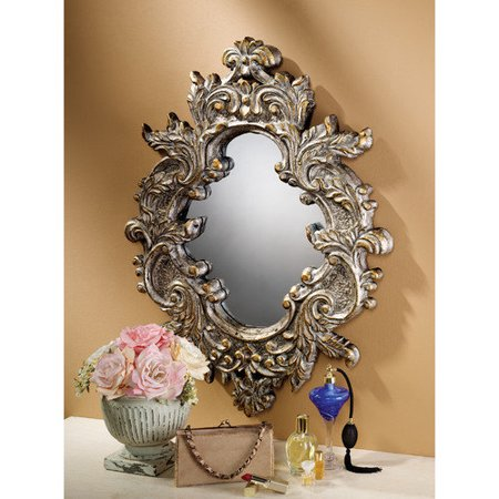 Design toscano baroque leaf salon mirror for Baroque resin mirror
