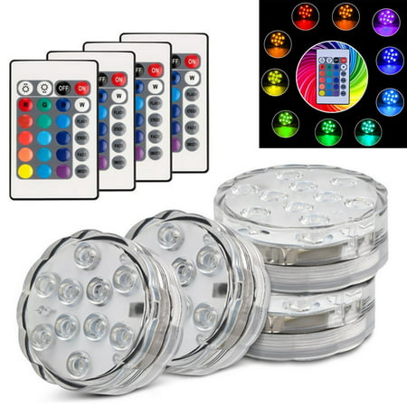 Kohree 4pk Submersible LED Lights, Remote Control Waterproof RGB Multi Color Changing, Underwater Accent Lights for Aquarium Fountain Vase Pond Swimming Pool Garden Hot Tub Battery Powered 10