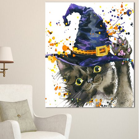 Design Art 'Halloween Cat and Witch Hat' Painting Print on Wrapped - Cat Painting For Halloween