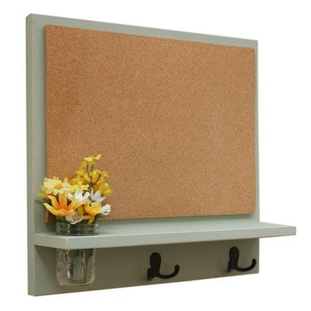Message Board with Cork board, Coat Hooks & Mason Jar
