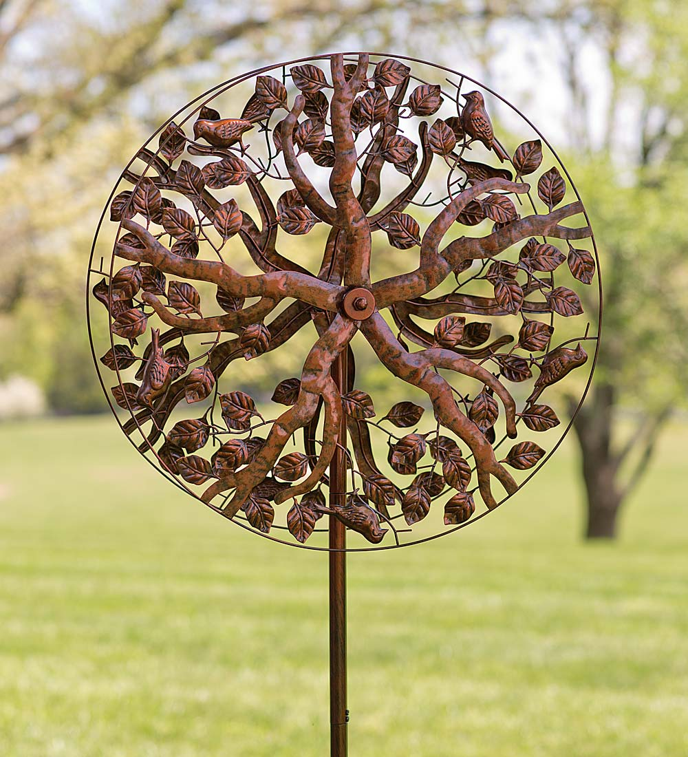 Tree of Life Wind Spinner w Elegant Leaf Rotors & Antique Finish by Problem Solvers