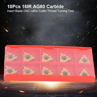 Greensen 10Pcs 16IR AG60 Carbide Insert Blade CNC Lathe Cutter Thread Turning Tool