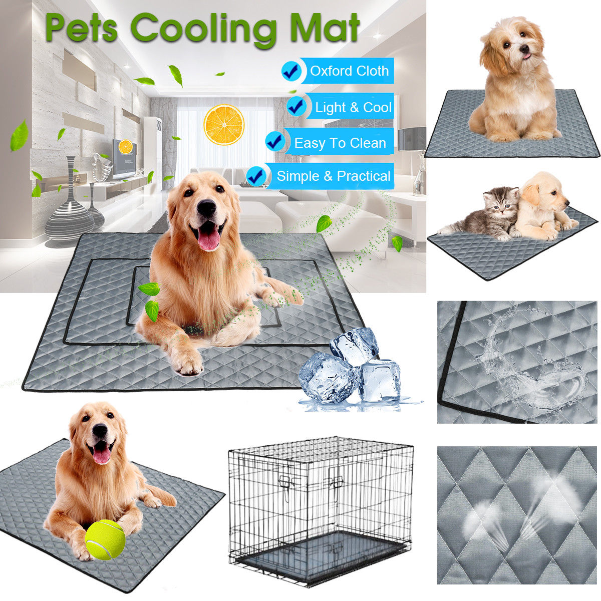 Pet Dog Cat Cool Mat Self Cooling Gel Pad Dog Bed Mattress Breathable Comfortable