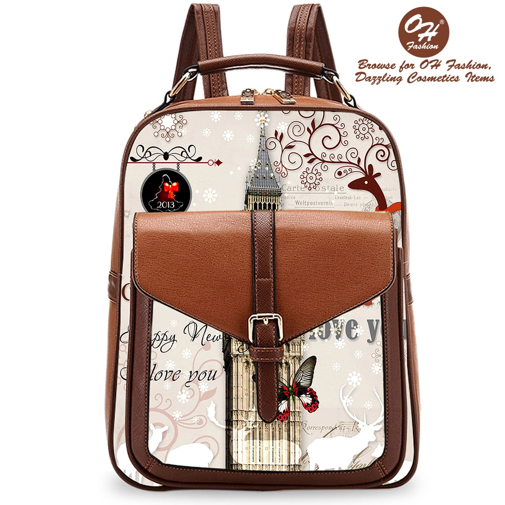 28646a5dce45 OH Fashion - Handbag Backpack European Dream Paris Design Rucksack Travel  Bag Color Black with City Designs - Walmart.com