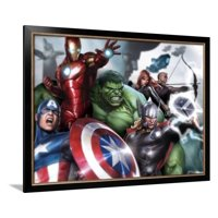 Avengers Assemble - Gallery Edition Situational Art Iron Man, Hulk, Thor and Captain America Marvel Artwork Framed Poster Wall Art
