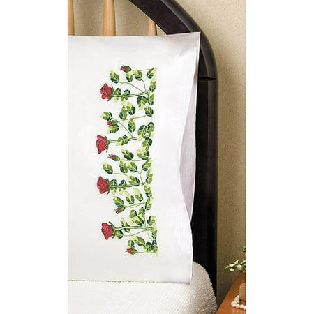 """Tobin Rose Row Stamped Pillowcase Pair, 20"""" x 30"""