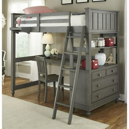 Ne Kids Lake House Twin Loft Bed With Desk And Shelf In