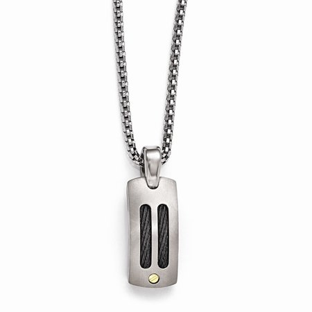 Edward Mirell Jewelry Collection Titanium Cable and 18K Gold Rivets Polished Pendant Necklace by Roy Rose Jewelry ~ Length 20'' inches 18k Titanium Necklace