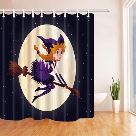 Redhead Halloween Ideas (WOPOP Halloween Cute Redhead Witch Flying on a Broom at Moon Polyester Fabric Bath Curtain, Bathroom Shower Curtain 66x72)
