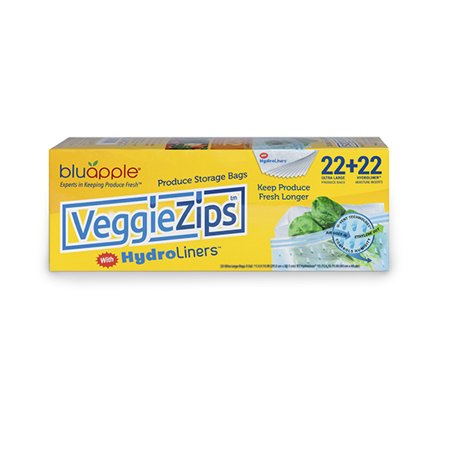 Blu Apple Veggie Zip with Hydro Liners (22 Ultra Large Produce Bags + 22 Hydroliner Moisture (North Face Zip In Liner)