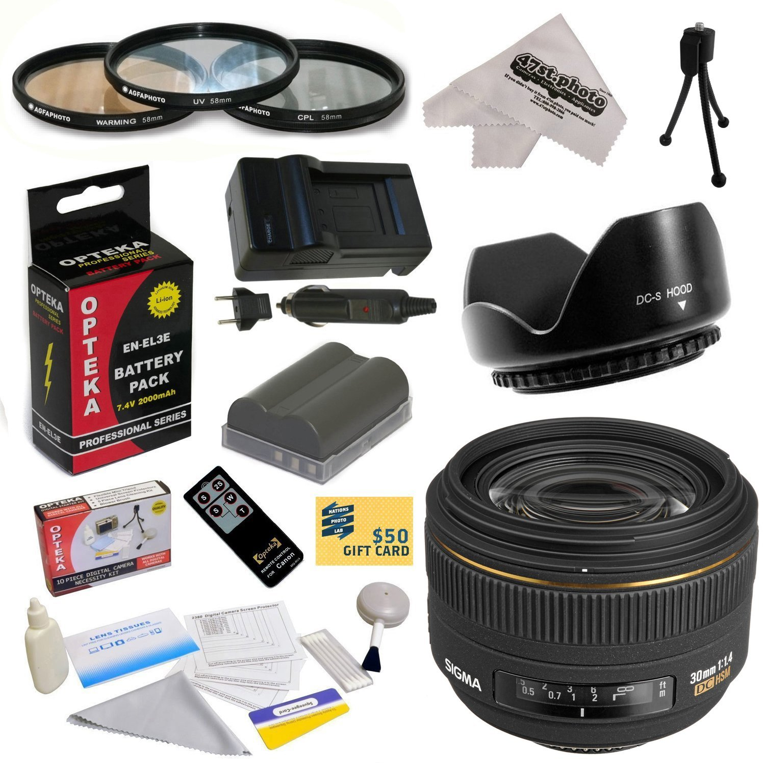 Sigma 30mm f/1.4 EX DC HSM Autofocus Lens for Nikon with 62MM 3 Piece Filter Kit,  Lens Hood, EN-EL3E 2000MAH, Charger, Remote Control, Cleaning Kit, Mini Tripod, Microfiber Cloth