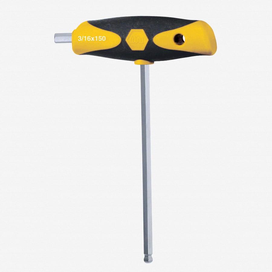 "Wiha 54004 1/4"" Soft Grip Ball End Hex SAE Dual Drive T-handle"
