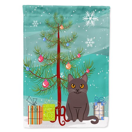 Chartreux Cat Merry Christmas Tree Garden Flag