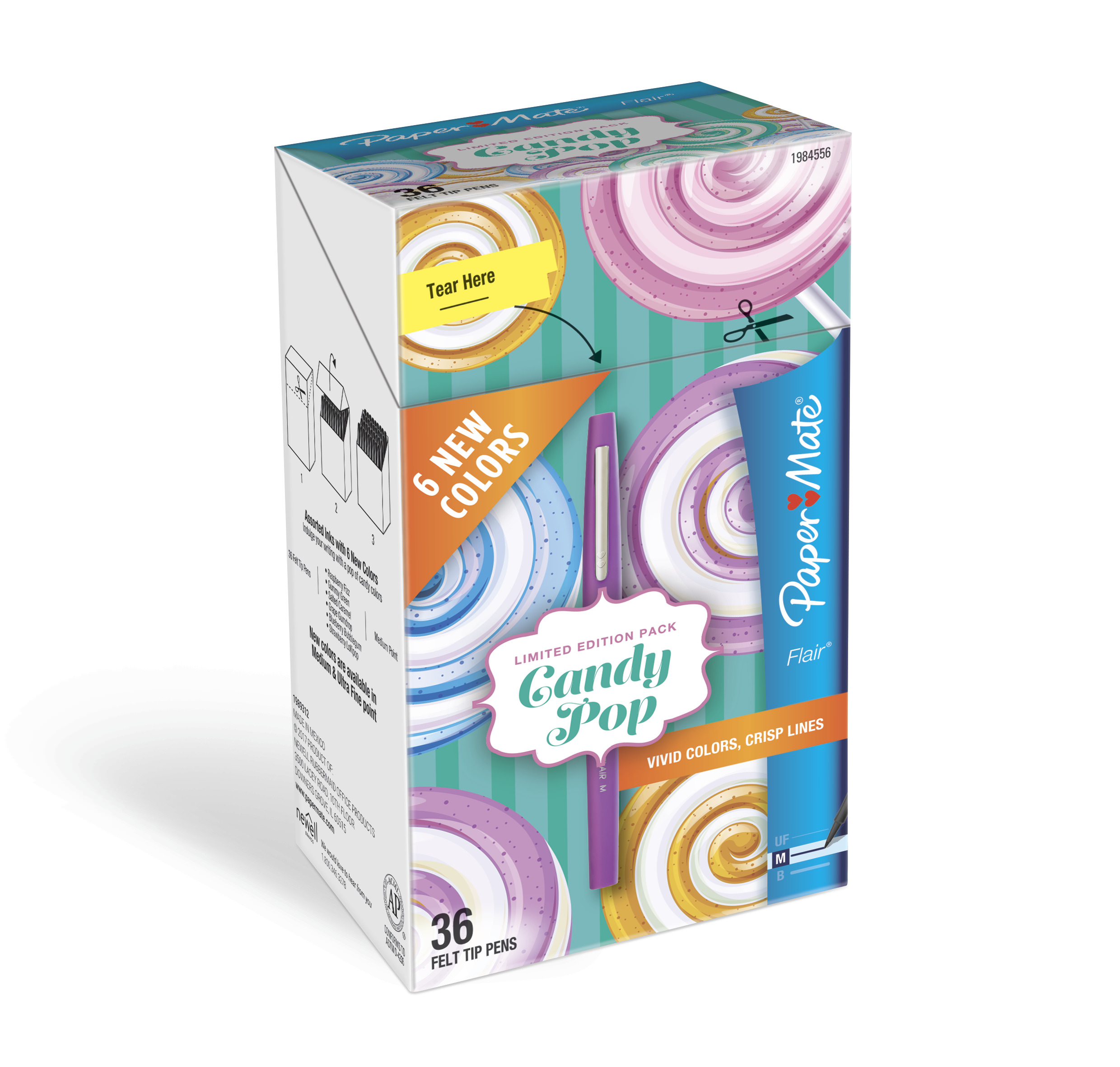 Paper Mate® Flair® Felt Tip Pens, Medium Point, Limited Edition Candy Pop™ Pack, Box of 36