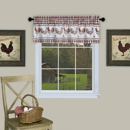 Plaid Rooster Window Curtain Valance - Burgundy