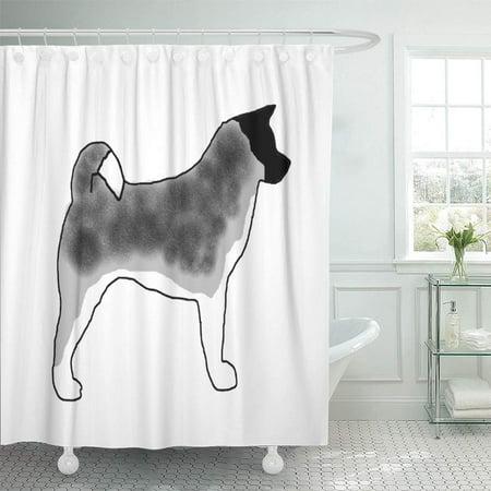 XDDJA Inu Akita Silver Black Overlay Dog Pet Ken ese Shower Curtain 66x72 inch - image 1 of 1