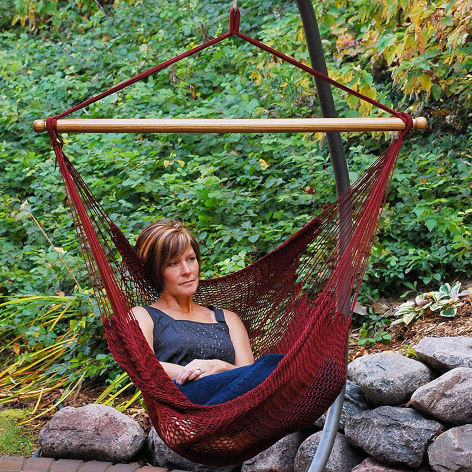 48 Quot X 44 Quot Maroon Red Hanging Caribbean Rope Hammock Chair