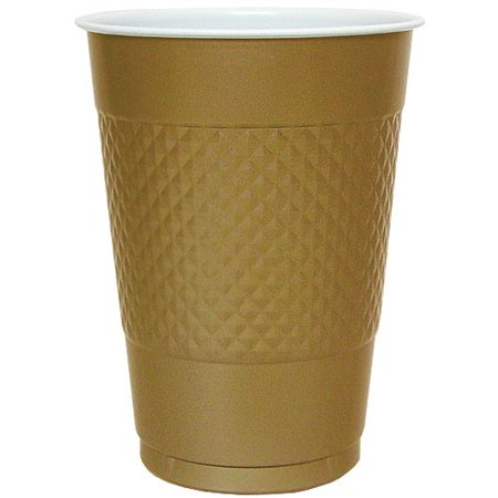 Hanna K Plastic Cups, 16 Oz, Gold, 50 - Gold Party Cups