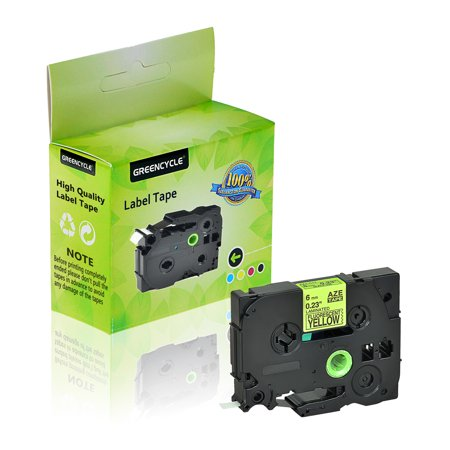 GREENCYCLE 1 Pack Compatible Brother TZe-C11 TZ-C11 TZC11 TZeC11 TZe Tape 6mm 0.24'' Laminated Black on Fluorescent Yellow Label Tapes Cassette use for Brother P-Touch Labeler Label Maker 16.4ft 5m