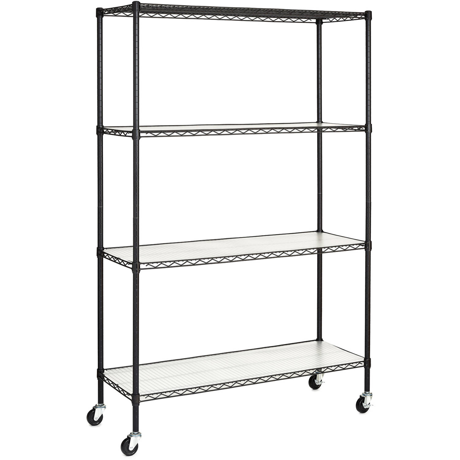 Hyper Tough 4 Shelf Commercial Grade Wire Shelving System With Bonus Liners And Casters Black