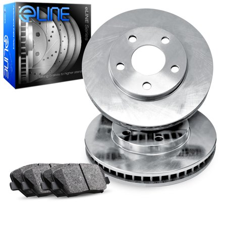 1993 Ford Taurus Front eLine Plain Brake Disc Rotors & Ceramic Brake Pads