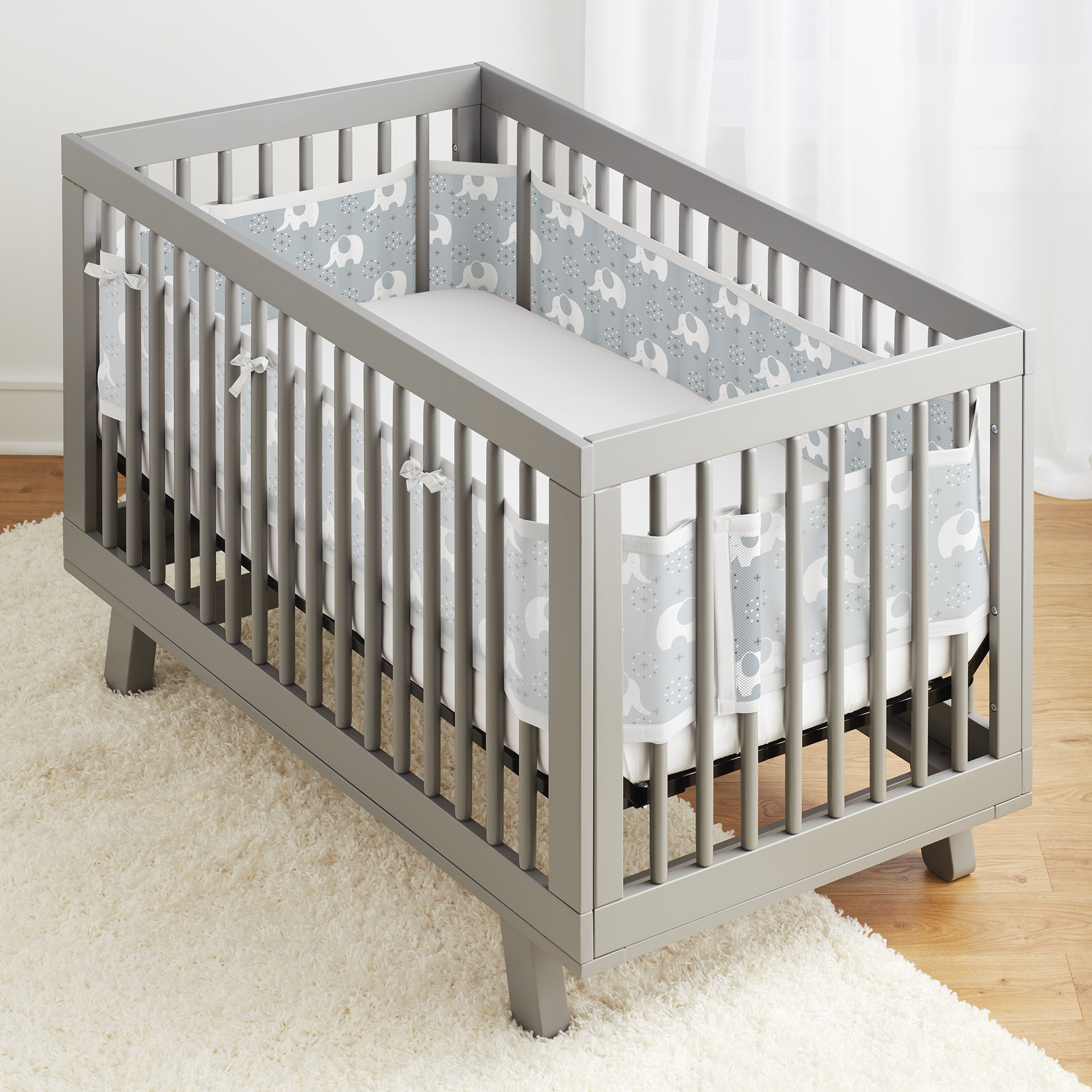 BreathableBaby® Classic Breathable® Mesh Crib Liner- Peaceful Elephant Gray