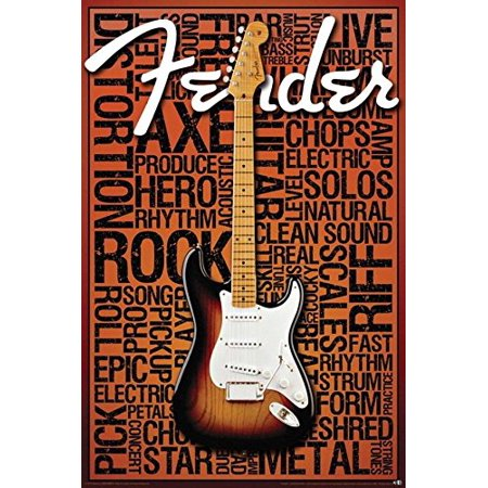 - Fender Guitar Words Rock and Roll Phrases 36x24 Art Print Poster Guitar Rock and Roll Strum Star Amps Fire Metal string Tones Strut