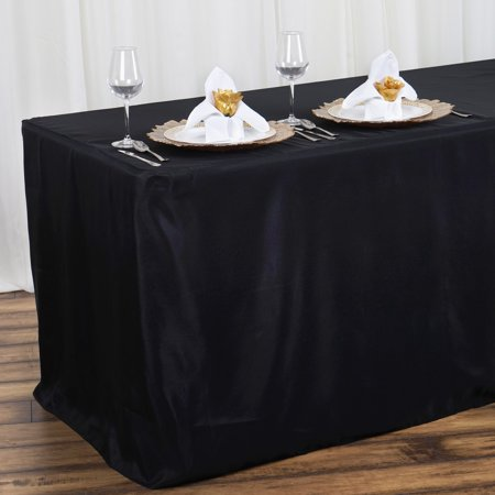 Balsacircle 4 feet fitted polyester tablecloth wedding for 10 foot table cloth