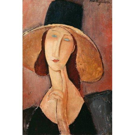 Portrait of a Woman (Jeanne Hebuterne) in Large Hat, c.1918 Figurative Expressionism Art Print Wall Art By Amedeo Modigliani ()