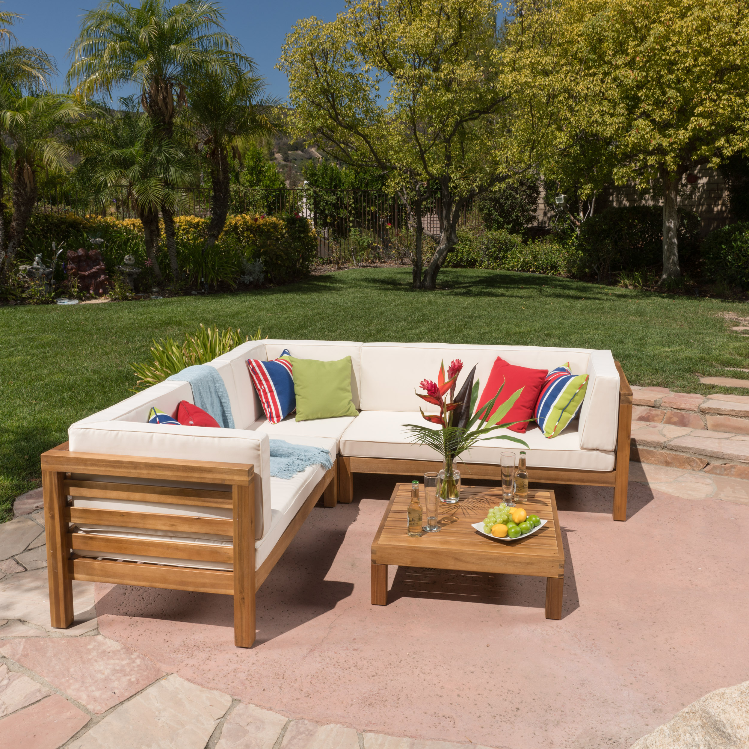 Argentine 4 Piece Outdoor Wooden Sectional Set with Cushions, Teak Finish, Beige