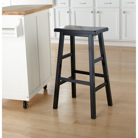 Mainstays 24 Quot Wood Saddle Stool Black Walmart Com