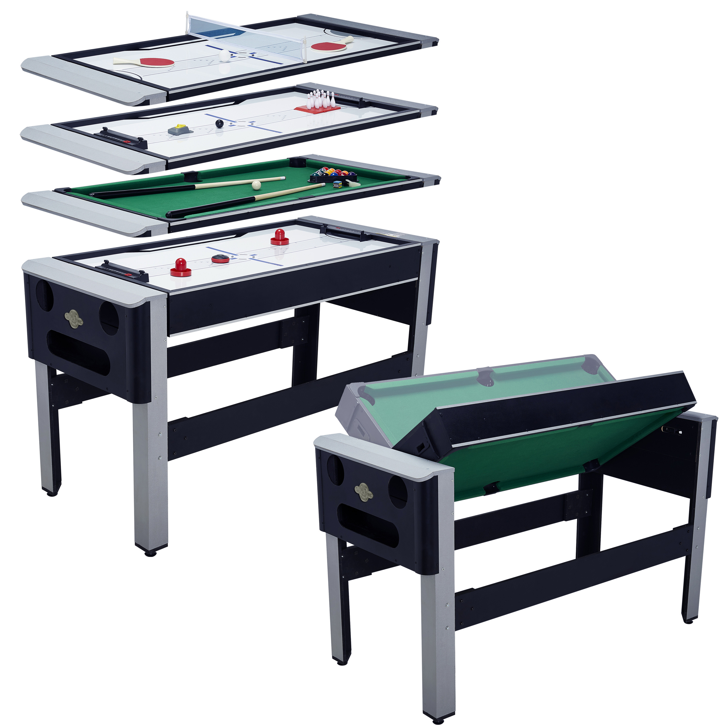 "Lancaster 54"" 4 in 1 Pool Bowling Hockey Ping Pong Combo Arcade Game Table by Lancaster Gaming Company"