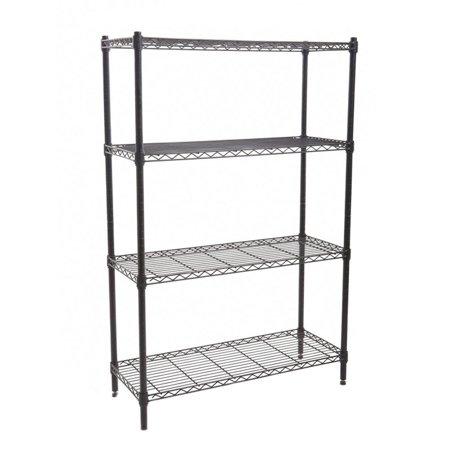 4 Shelf Heavy Duty Household Storage Organization Steel Wire Shelving, Black