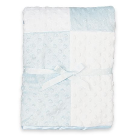 Spasilk Minky Raised Dot Blanket, Blue (Minky Snuggle Blanket Toy)