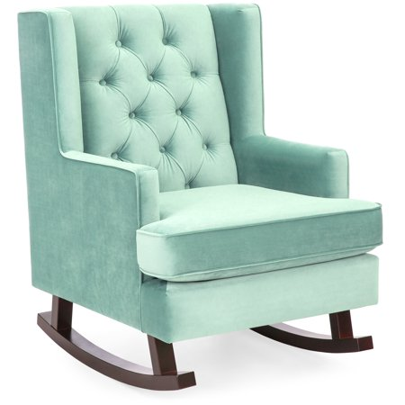 Pacific Glider Chair (Best Choice Products Tufted Upholstered Wingback Rocking Accent Chair Rocker for Living Room, Bedroom w/ Wood Frame - Mint Green )