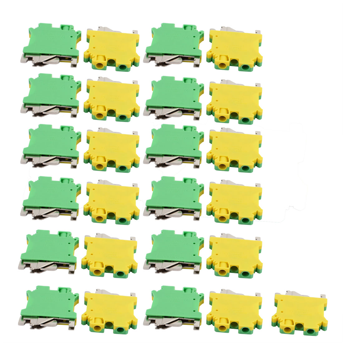 25Pcs 46x42x8mm 6mm2 24-6AWG Universal Grounding Terminal Block Yellow Green