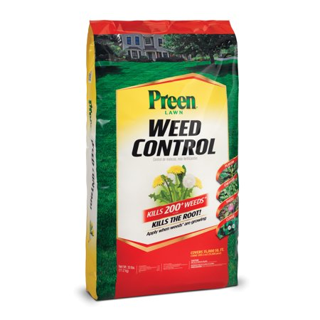 Preen Lawn Weed Control, 30 lb bag covers 15,000 sq
