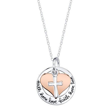Love Sterling Silver Charms Pendants (Two-Tone Sterling Silver and Rose Gold-Flashed