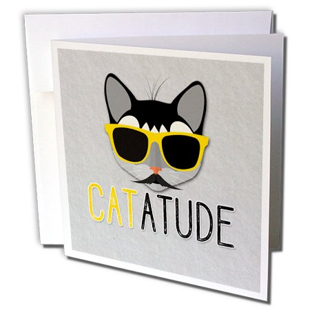 3dRose Hipster Cat with a Mustache and Yellow Sunglasses with CATATUDE - Greeting Cards, 6 by 6-inches, set of (Sunglasses Moustache)