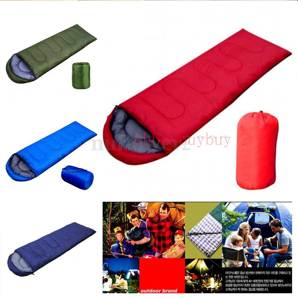 1pcs Portable Large Single Sleeping Bag for Adults Warm Soft Adult Waterproof Camping Hiking Blue
