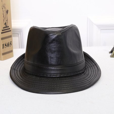 Male Female British Style Simple All-Match PU Leather Hat Cowboy Hat Formal Hat Autumn And Winter Curling Verge - image 7 of 8