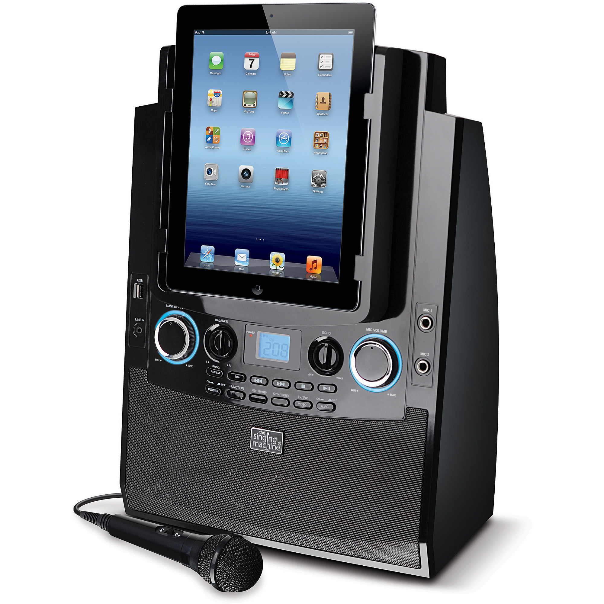 Singing Machine ISM9090BT Bluetooth Mobile Karaoke System with Resting Tablet Cradle, Microphone and Free Karaoke App
