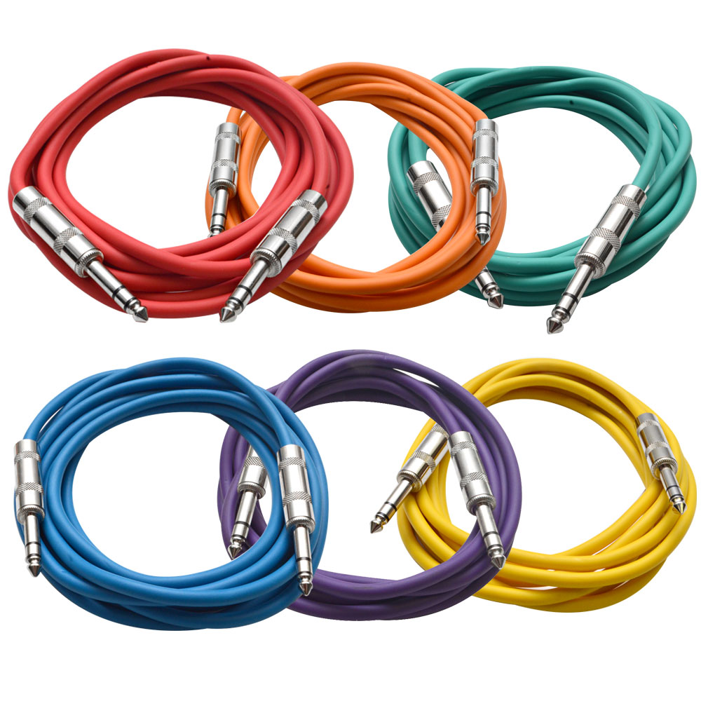 """Seismic Audio  6 PACK Colored 1/4"""" TRS 10' Patch Cables Multi-Colors - SATRX-10BGORYP"""